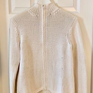 GAP Chunky Textured Cotton Blend Full-Zip Sweater
